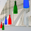 Decorative colored lanterns under a white wooden ceiling beach b — Stock Photo