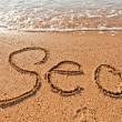 Word sea written on the sand on the beach — Stock Photo #37303617