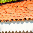 Brown clay tile roof closeup — Stock Photo