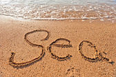 Word sea written on the sand on the beach — 图库照片