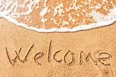 Vítejte v písku u moře — Stockfoto