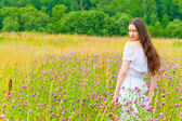 Porträt eine schöne brünette in einem feld von lila blüten — Stockfoto
