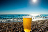 Glass of cold beer on a background of the sea — Foto Stock