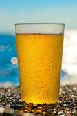 Water drops on a glass of cold beer on the beach — Stock Photo