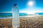 Bottle of cold fresh water on the pebble beach — Stock Photo