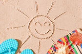 Postcard photo of joyful sun and beach accessories — Stock Photo