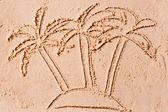 Three palms on a desert island in the sea — Stock Photo