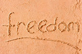 Freedom written on wet sand at the sea — Foto de Stock