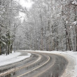 Turn winter road in the forest zone — Stock Photo #40982321