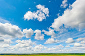 Beautiful clouds and blue sky over field and fores — Stock Photo