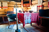 Russian old-fashioned traditional interior hut — Stock Photo