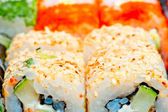 Macro sushi with different fillings — Stock Photo