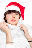 Charming brunette in cap Santa Claus — Stock Photo