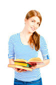 Beautiful young girl with an open book — Stok fotoğraf