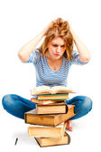 Tired student engaged in reading literature — Stock Photo