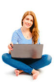 Happy beautiful girl with a laptop — Stock Photo