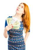 Zengin kız para harcamayı düşünüyor — Stok fotoğraf
