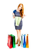 Shopaholic scans your purchases in packages — Stock Photo