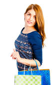 Stylish beautiful girl with shopping — Photo