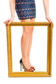 Beautiful shapely women's legs in the frame — Stok fotoğraf