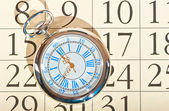 Calendar pocket watch old grandfather — Stock Photo