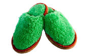 Natural woolen slippers on white background — Stock Photo