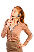 Operator with headset advising client — Stock Photo