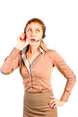 Emotions beautiful consultant with headset — Stock Photo