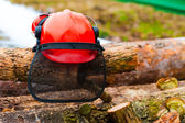 Protective helmet lying on the logs in the forest — Stockfoto