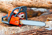 Chainsaw closeup on a felled forest — Stock Photo