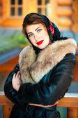 Beautiful Russian girl posing for a photograph — Stock Photo
