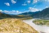 Desert valley of the Altai Mountains — Stock Photo
