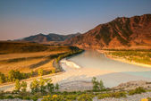 Merger of the two great rivers of Altai - Chuya and Katun — Stock Photo