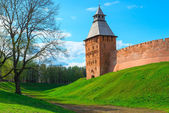 Novgorod Kremlin tower above the city — Stock Photo