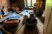 Russian home kitchen interior in the Middle Ages — Stock Photo