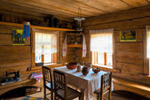 Russian interior poor hut in the Middle Ages — Stock Photo