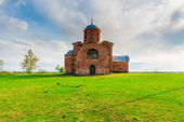 Orthodox medieval church of red brick — Stock Photo