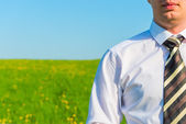 Businessman on a background field in striped tie — Stock Photo