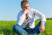 Pensive businessman thinking about work in the field — Stock Photo