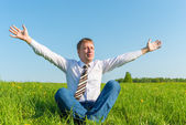 Free businessman enjoys independence in nature — Stock Photo