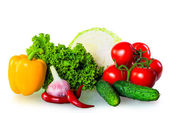 Healthy fresh vegetables isolated on white background — Stock Photo