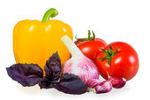 Ripened crop of vegetables on white background — Stock Photo