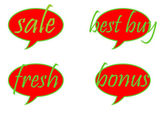 Set of colorful sale stickers and labels. — Stock Photo