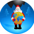 Santa with globe — Stock Vector