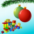 Christmas illustration with decorative balls — Image vectorielle