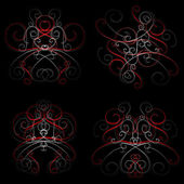 Old-fashion style abstract swirls on black — Stock Vector