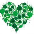 Heart-shape with foliage — Stock Vector