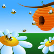 Honey bees around the beehive — Wektor stockowy  #38418485