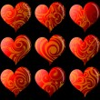 Set of nine decorative hearts — Stock Vector #38418505