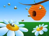 Honey bees around the beehive — Stock Vector